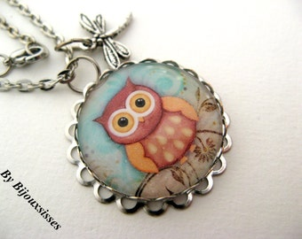 My lovely owl ... VN267 - pendant necklace - charm necklace - silver necklace - gift under 20