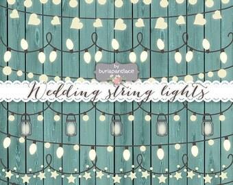 VECTOR Rustic String Lights Clipart, wedding invitation, Clipart lights, Wedding, Fairy Lights Clipart, Lampion , String Lights Clipart,