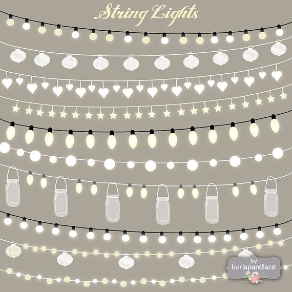 Items similar to VECTOR String Lights Clipart, wedding invitation, Clipart lights, Party Lights ...