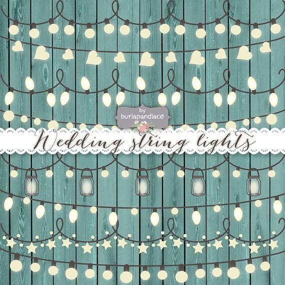 VECTOR Rustic String Lights Clipart wedding invitation