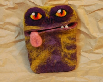 Philip the Purple Monster felted phone case