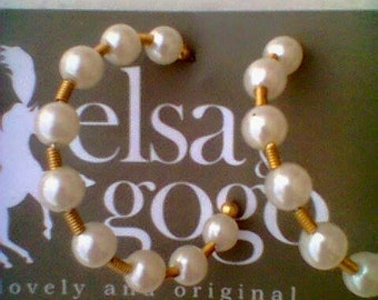 Pearl hoop vintage earrings