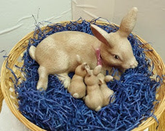 Nursing Rabbit in Basket