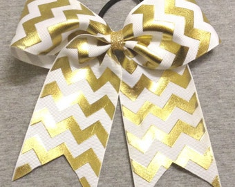 White and Gold Foil Chevron Cheer / Softball / Volleyball Bow