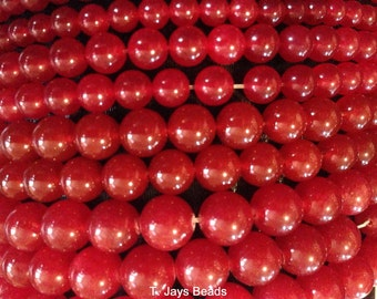 REDUCED 6mm Red Malay Jade Beads