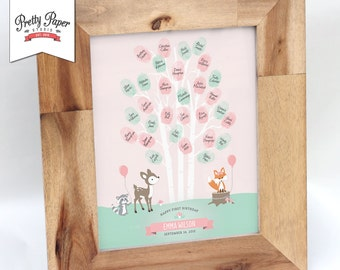 Thumbprint Tree Guestbook - Woodland Birthday Party // Fox // Pink Girl First Birthday Decorations // Printable BP02