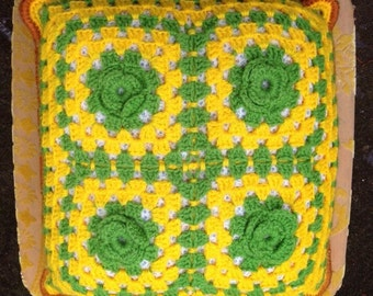 Vintage Lime Green and Yellow Crochet Granny Square Pillow