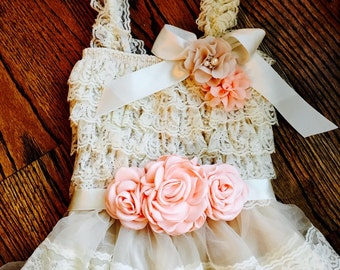Vintage Inspired Cream Lace Petti Dress with a /Peach/Ivory/Taupe Flower Sash Set, Photo Prop, Adorable Birthday Outfit, Flower Girl Outfit!