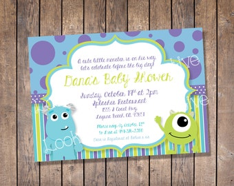 Monsters Inc. Baby Shower Invitation (custom-digital print)