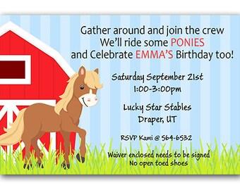 Horse Birthday Party Invitations, Pony Birthday Invitations, Horse Riding Birthday, Ponies, Barn Party, Digital File or Printed Invitations