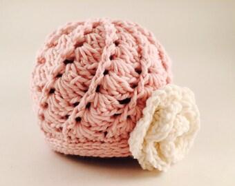 Crochet newborn beanie, newborn spiral beanie, newborn layette, baby gift, photo prop, newborn beanie, crocheted baby hat