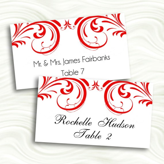 cherry red swirl flat printable escort cards place cards by idodiy