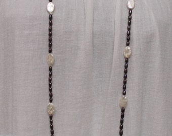 Nk361 46-inches Dark Rice & White Flat Oval Freshwater Pearl Necklace