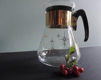 Mid Century Modern Pyrex Coffee Carafe Corning Six Cup Atomic Star Design Coffee Carafe