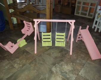 American Reborn Doll Swing Set Slide Toy Furniture Amish Made Solid Wood Childrens Pretend Play Folk Art 048