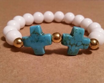 Turquoise Crosses and White Jade Bracelet