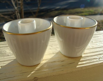 Thomas Germany Petite size Ivory White Porcelain with Gold Brim Candle Holder two piece set German Rosenthal # 1788 and 24