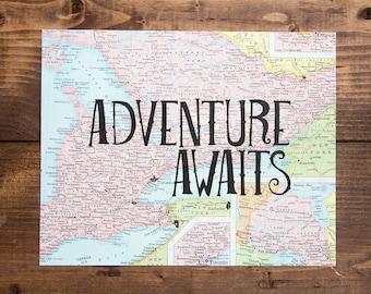 "Ontario Canada Map Print, Adventure Awaits, Great Travel Gift, 8"" x 10"" Letterpress Print"
