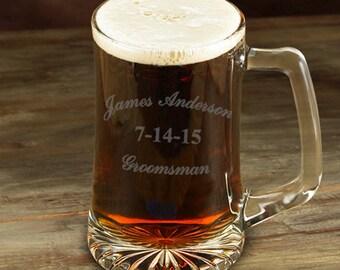 Groomsman 25 oz. Beer Mug - Personalized  Sports Mug - Groomsmen Gift - Personalized Beer Mug - GC1254