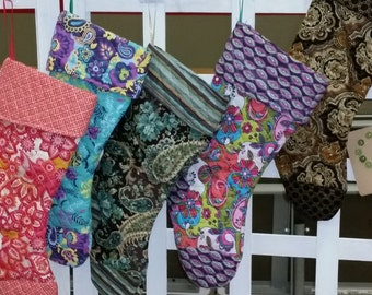 Colorful Christmas Stocking made from Quilted Fabric