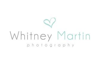 Pre-made Logo Design with Watermark - Premade Logo Template for Branding - Watercolor Logo - Watercolor Heart Logo 498