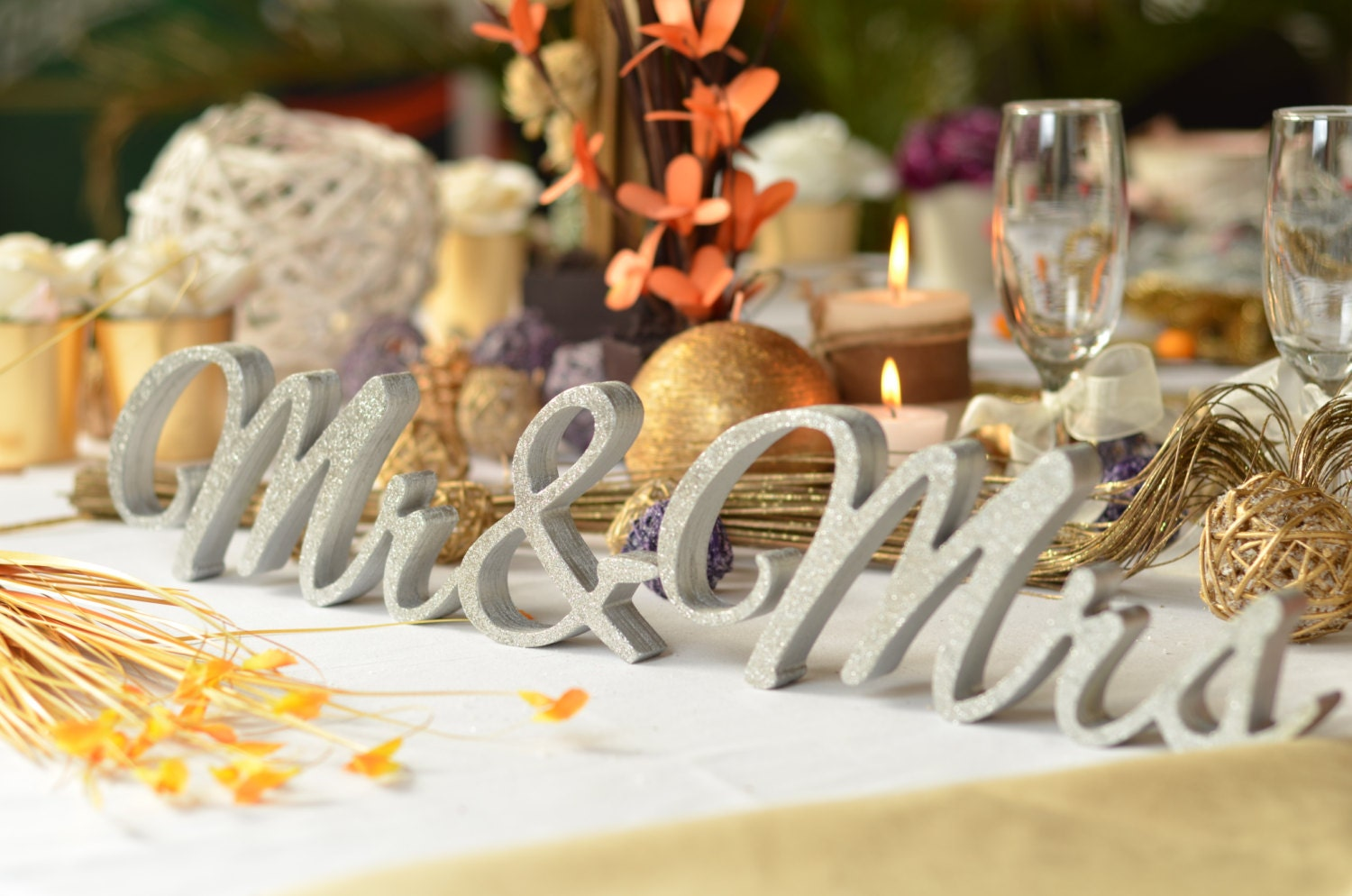 Glitter Mr. & Mrs. Letters Wedding Table Decoration By SunFla