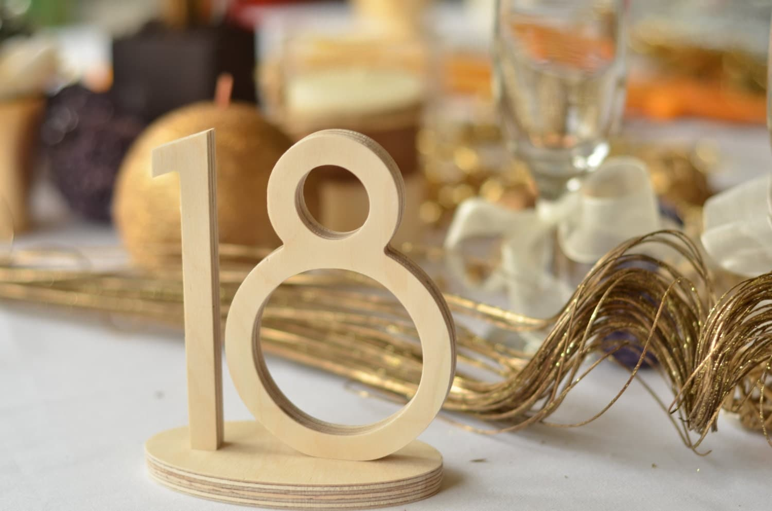 1 20 wooden table numbers wedding gold table numbers wedding for Table numbers
