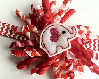 Valentines Day Headband - Valentines Korker Hair Bow - Valentine Head Band for Girls -Red and Silver Foil Chevron Elephant Headband for Girl