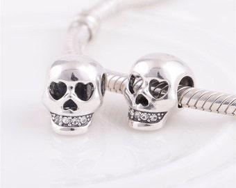 sterling silver  Skull charm / charm for european bracelet / european charm