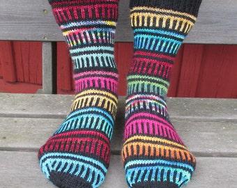 Happy go Scrappy sock pattern by Anita Grahn, English, Swedish, Danish, instant download, stashbuster sock pattern pdf, fingering yarn