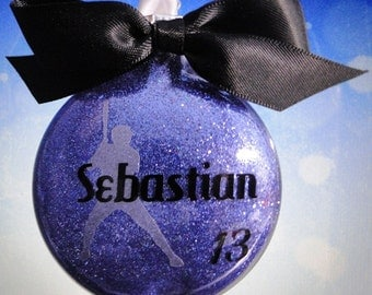 10 personalized glass Baseball Christmas ornaments - Handmade with custom team colors and name