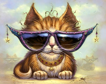 "Just Be Cat // 11"" x 14"" print // Orange Tabby Cat // Cool cat sunglasses // Orange Tuxedo cat // Be Yourself"