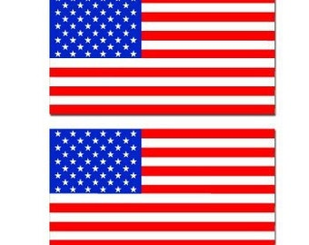 "Set of 2 American Flag bumper sticker decal 5"" x 4"" Window Car Decal Vinyl BS-506011"