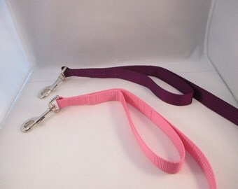 Double Handle Nylon Dog Leash, Color Choice, Handle Options, Animal Rescue Donation with Purchase,