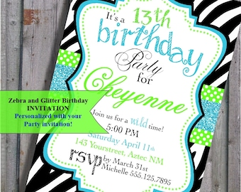 Zebra Print Birthday Invitation zebra animal print turquoise blue and lime green for Teen, tweens, PRINTABLE  DIY Digital