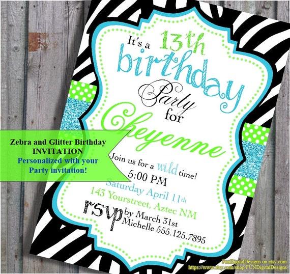 Zebra Print Birthday Invitation Zebra Animal Print