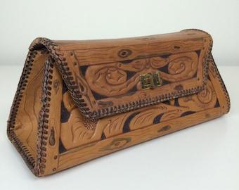 hand tooled leather box handbag 50's