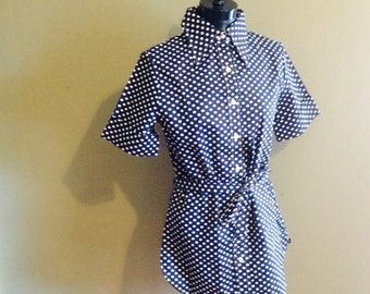 Vintage Navy Polka Dot Tunic Top. Town and country. Size Large.