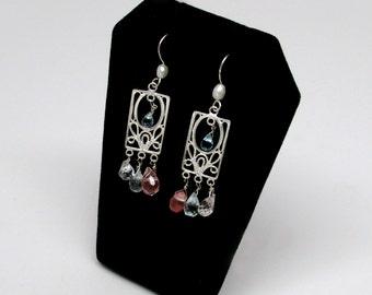 morganite earrings, aquamarine earrings, slver beryl earrings, pearl detail earrings, sterling silver earrings, art nouveau style earrings