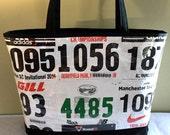 CUSTOM Personalized TOTE BAG vinyl bag Waterproof bag Running Bag Upcycled bag Athletic Bag Gift for runners