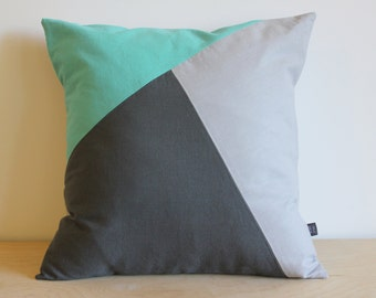 Minimal colorblock Pillow Cover | Urban Home Decor by AylaGrayDesigns | aqua and gray  | Geometric Design | Colorblock Pillow