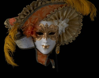 Venetian Mask | Belle Dame with Roses and Feathers