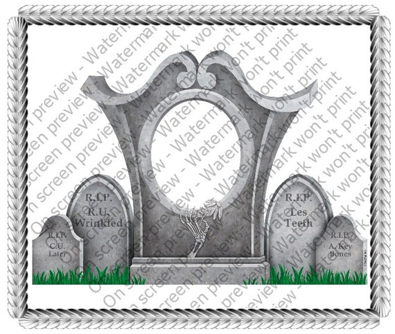 Over The Hill Gravestones - Edible Cake and Cupcake Photo Frame For Birthday's and Parties! - D645
