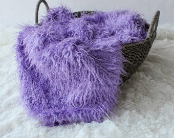 LARGE......Curly Faux Fur  Lilac Purple,, Newborn Baby Photo Prop, Flokati Look, Faux Sheep Fur, Luxury Photo Prop,