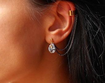 Crystal Ear Cuff Earrings,Ear Cuff Earrings with Swarovski Crystals