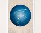Constellation Art Print, Couples Constellation, Cusp Zodiac, Astrology Poster