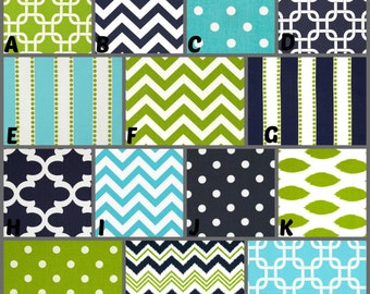 Custom Crib Bedding and Nursery Decor / Design Your Own / Crib Bumper, Skirt and Sheet / Premier Prints / Navy / Bright Blue / Chartreuse
