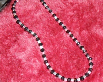 Black crystal and silver hematite beaded necklace.