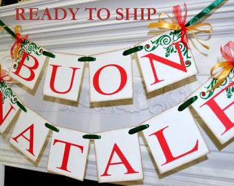 BUON NATALE banner, Italian Buon Natale banners, Italian Christmas banners, Christmas banner