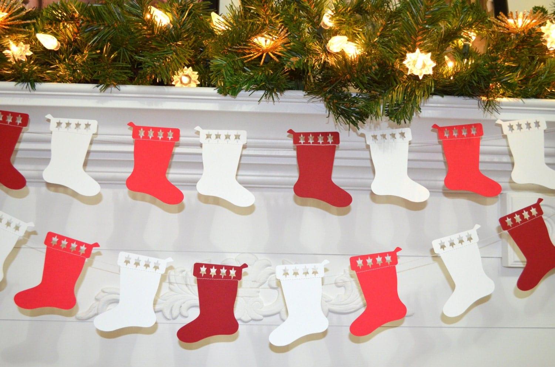 Christmas stocking garland paper decor kids